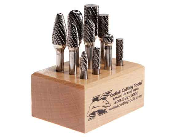 bur set in wooden stand 10 piece with quarter inch shanks